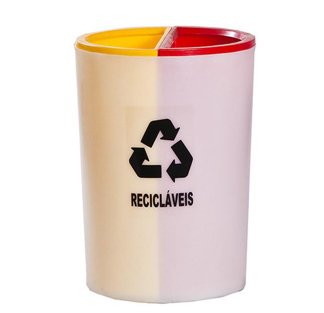 Coletor para lixo reciclavel nao reciclavel lixeira seletiva 2 em 1