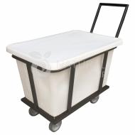 Natural Limp - Carro cuba 200 litros com suporte e rodas de poliuretano com tampa