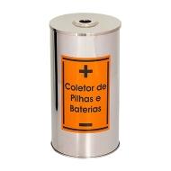 Natural Limp - Coletor Pilhas e Baterias em Aço Inox - 40 Litros