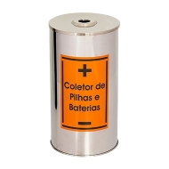 Natural Limp - Coletor Pilhas e Baterias em Aço Inox - 50 Litros