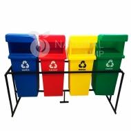 Natural Limp - Conjunto de coletores para coleta seletiva com suporte móvel -  60 litros