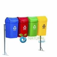Natural Limp - Conjunto de Lixeiras com Tampa Basculante e Suporte - 50 litros