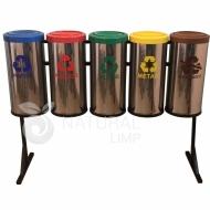 Natural Limp - Conjunto de Lixeiras em Inox com Suporte - 25 litros