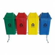 Natural Limp - Kit com 04 lixeiras seletivas - tampa vai e vem - 60 litros