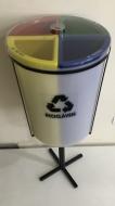 Natural Limp - Lixeira MIX com 4 Divisões, Tampa em Acrílico e Suporte - 50 Litros